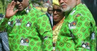 PHOTO: Ex Presidents Rawlings & Mahama Looking Dapper In Their Ghana@60 Cloth